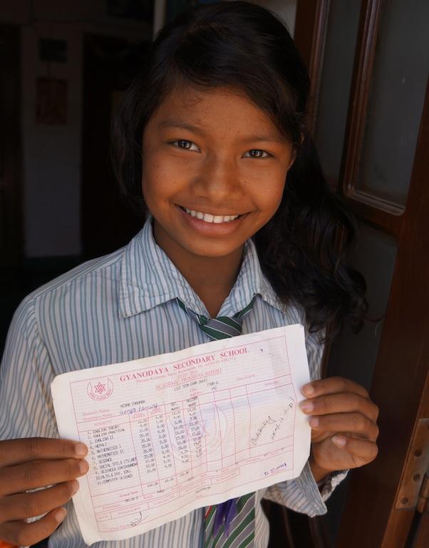 Kopila showing off her exam results!