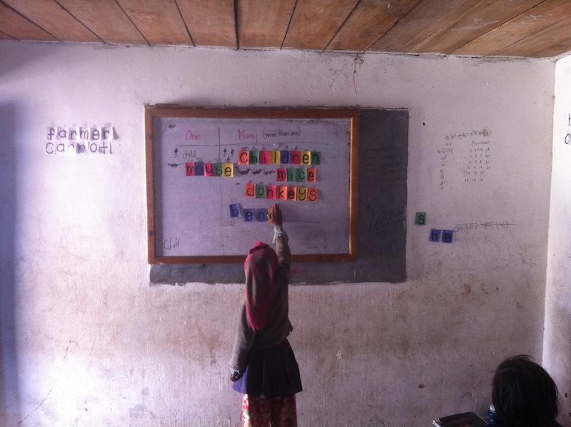 A little girl takes over the job as teacher!