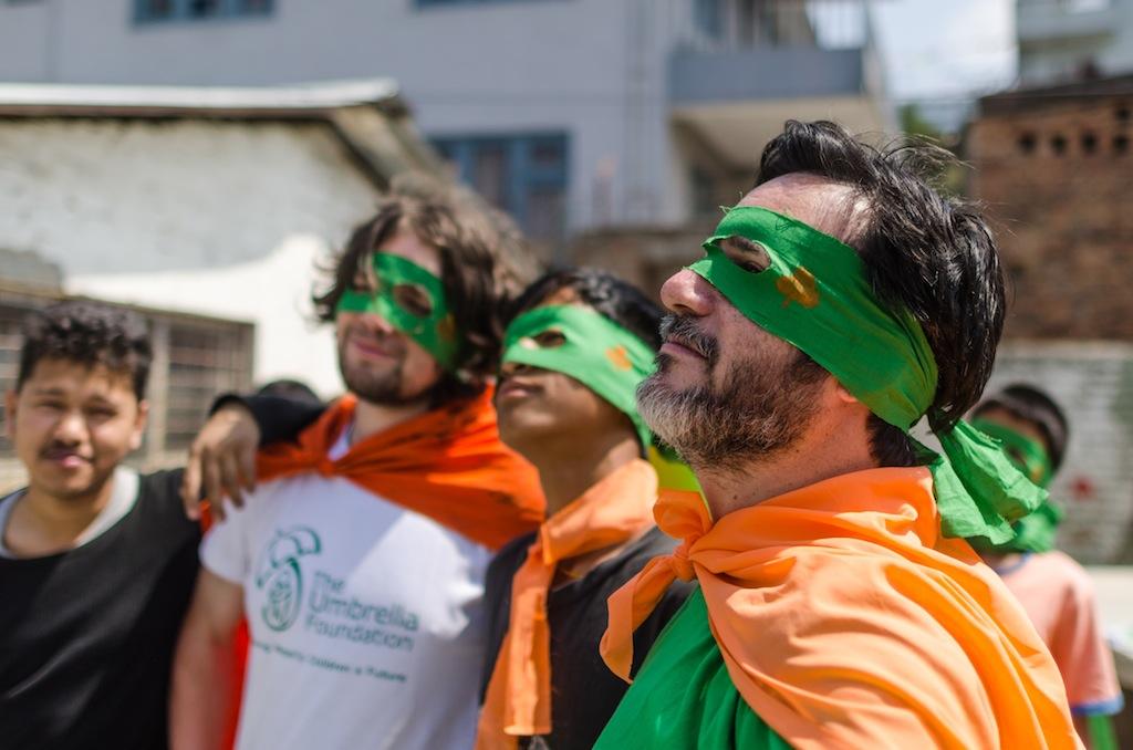 Volunteers went for the 'Teenage Mutant Ninja Turtle' look!