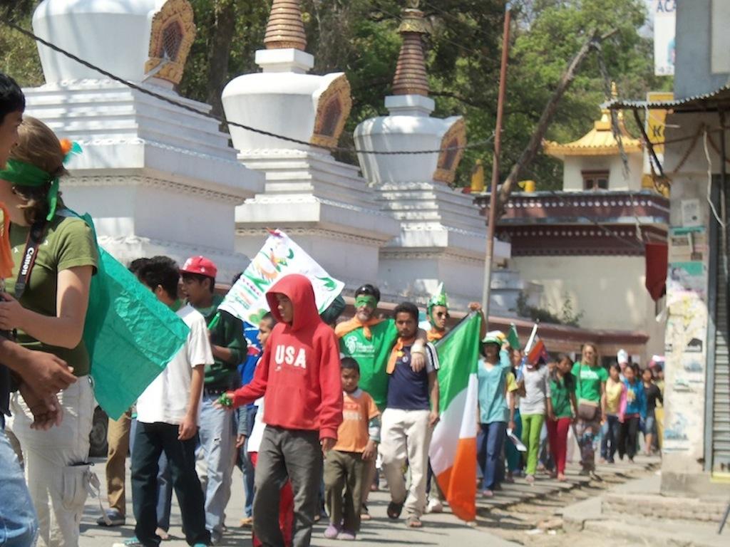 A sea of green alongside the Monkey Temple, Swayambhu.