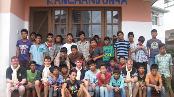 (from right): Fr Eanna, Stephen, Kian and Philip in our Kanchenjunga home, where they were volunteering