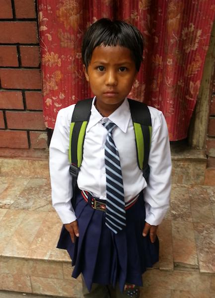 Sabina in her brand new school uniform