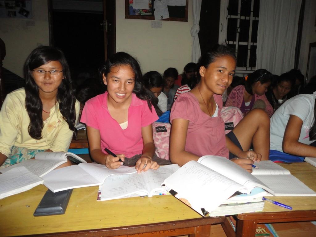 Junu and friends studying in Gauri Shankar House.